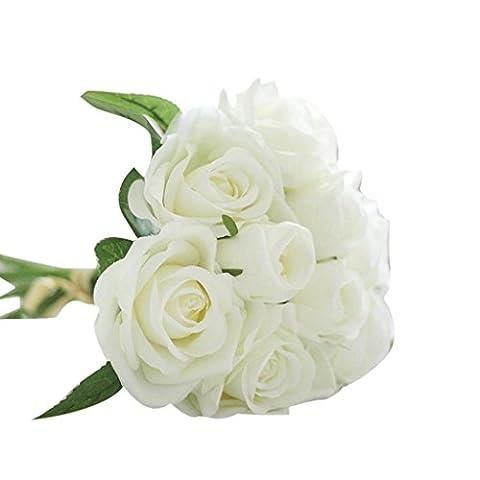 Artificial Flowers, SHOBDW 9 Heads Artificial Silk Fake Flowers Leaf Rose Wedding Floral Decor Bouquet (27cm,