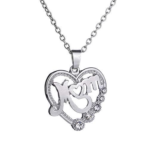 DC CLOUD Damenschmuck Frauen Halskette Halskette Panzerkette Kristallanhänger Geschenk für Mutter Bar Halskette Einfache Halskette Hollow Letter Anhänger Silver (Dc Nachtclubs Halloween)