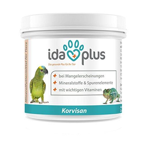 IdaPlus - Korvisan Pulver (200 g) Mineralfuttermittel mit Vitamin D3, Calcium & Spurenelementen für Amphibien, Reptilien und Vögel (Ziervögel, Singvögel und Papageien) Versorgung für bis zu 200 Tage
