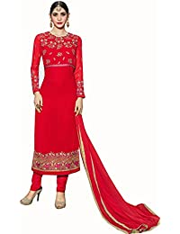 Lilots Georgette Red Heavy Embroidery Work Semi Stitch Stright Suit