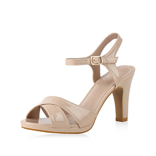 SCARPE VITA Damen Pumps Riemchensandaletten Sandaletten High Heels Leder-Optik Schuhe Stiletto Partyschuhe Sommerschuhe 159962 Nude 40