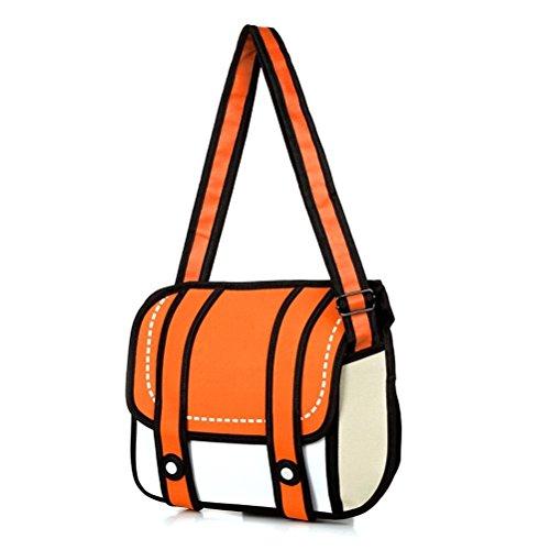 STONG Fashion Damen Girls 3D Jump Style-2D-Zeichnung Comic Cartoon Kamera Tasche Handtasche Tote Schulter Bag (Orange)