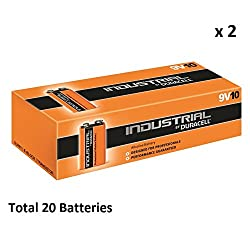 20 DURACELL INDUSTRIAL ALKALINE 9V BATTERIES REPLACES PROCELL PP3 9V Expiry 2019 from Duracell