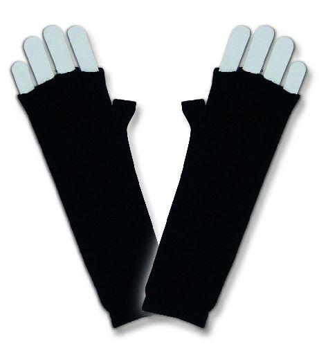 Strickhandschuhe Strick Handschuhe ohne Finger schwarz Länge ca. (Finger Kostüm Lange Handschuhe)