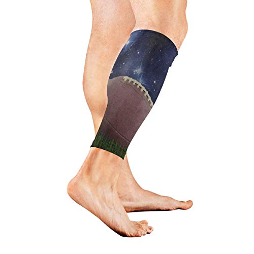 Leg Sleeve American Football Green Grass Starry Field Compression Socks Support Non Slip Calf Sleeves Pads - Improve Circulation for Shin Splint, Calf Pain Recovery, Running, Cycling, Travel, 1 Pair