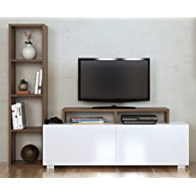 Mueble Salon Tv Blanco Y Marron