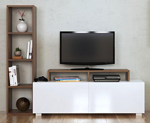 ... ASTER Wohnwand   Weiß / Nussbaum   TV Lowboard   Fernsehtisch Mit  Regale In Modernem Design ...