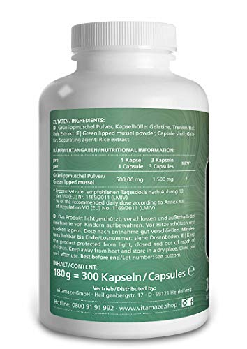 Grünlippmuschel Kapseln hochdosiert; 1500 mg Grünlippmuschelpulver aus Neuseeland pro Tagesdosis – 300 Kapseln zur Dauerversorgung – Qualitätsprodukt-Made-in-Germany – OHNE Magnesiumstearat