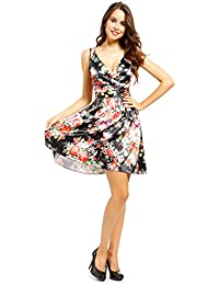 Robe retro sans manche pin-up annee 50 60 soiree fleur noir Rockabilly swing WWII soiree fete Danse Balle
