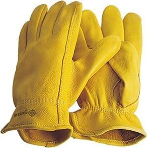 Premium in pelle di cervo a mano scarpe, guanti da equitazione, Western, Cowboy, Giallo–Beige/Nero, gelb/ beige