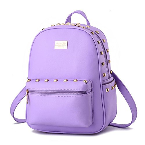 LDMB Damen-handtaschen Koreanisch Dame Studenten PU Leder Freizeit Schulter Tasche Vertikalschnitt purple taro