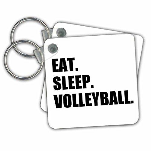 -Schwarz Text-Volleyball am Fahrrad Schlüssel Ketten, 5,7x 5,7cm, Set 2Stück (KC 180456_ 1) ()