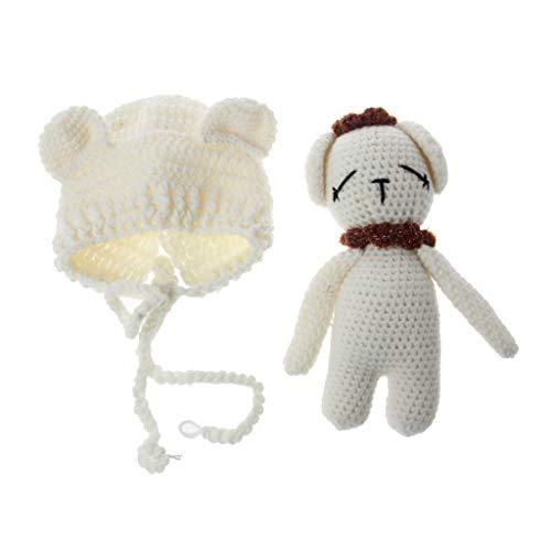 Baby Puppe Kostüm - Manyo Babykleidung, Baby-Hut + Puppe, Bär, Baby-Kostüm, Baby-Kostüm, Fotozubehör, Fotozubehör, Unisex Gr. 0-1 Monate, weiß