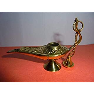 Artcollectibles India Set Of Brass Chirag Aladdin Genie Oil Lamp Plus Cotton Wicks Pack Free For Home Decor / Christmas Diwali Gift