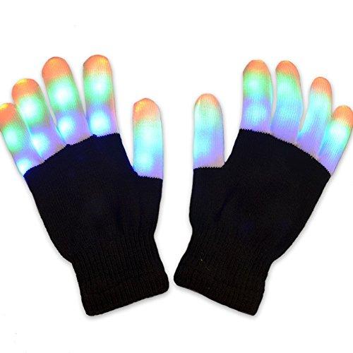 Joyoldelf LED Beleuchtung Handschuhe, 7 Farben Spielzeuge Finger Beleuchtung Tanzhandschuhe für Junge Mädchen Weihnachten Geburtstag Osterfest,1 (Flash Für Kostüm Das Mädchen)