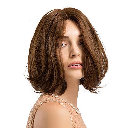 Perruque Femme naturelle, feiXIANG femmes haute qualité Marron Perruque Cheveux ondulés Extensions de cheveux courte Complète bouclé ondulé Chaleur resistant Synthetique