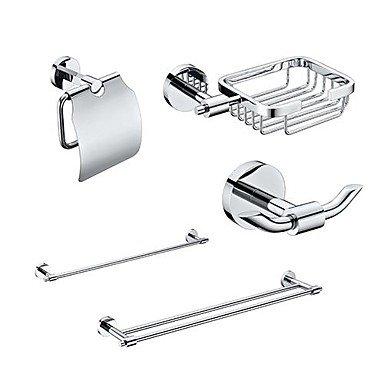 HJ 5pranzo in ottone Accessori Bagno Set, singola e doppia barra di tovagliolo/carta/Cestino del sapone/gancio
