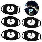 Cuigu 5pcs/Set Modelo de Oso marrón de máscara de Boca Negra Unisex, Máscara Facial en algodón Cool Antipolvo Partido Cosplay Deporte de Plein Air