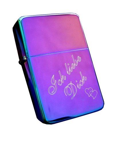 Cool Benzinfeuerzeug Rainbow/Spectrum + kostenlose Gravur Ich liebe Dich + Herz