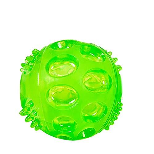 Wokee Ball Gummi Hund Bälle,Unregelmäßiges Ball Quietschendes Kauen spielt interaktives für Hund (Grün, M) -