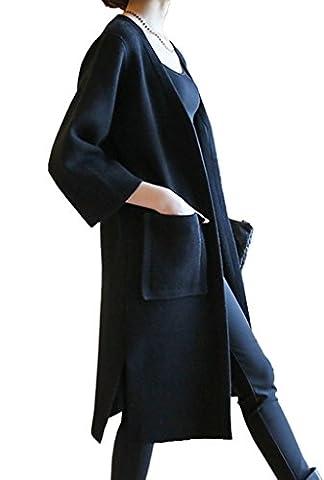 Bigood Pull Cardigan Longue Slim Veste Tricot Manteau Femme Manches Longue Avec Poche Noir