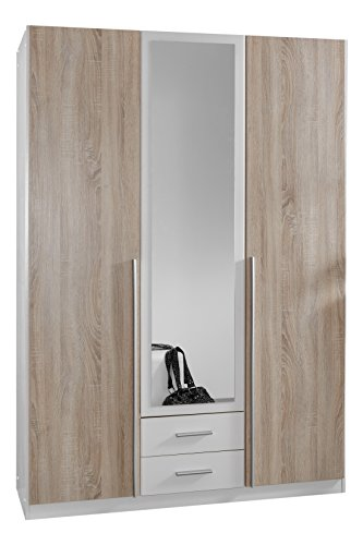 Wimex 119484 Kleiderschrank, 3-türig mit zwei Schubkästen und eianer Spiegeltür, Front Korpus Außentüren Eiche Sägerau Nachbildung, 135 x 198 x...