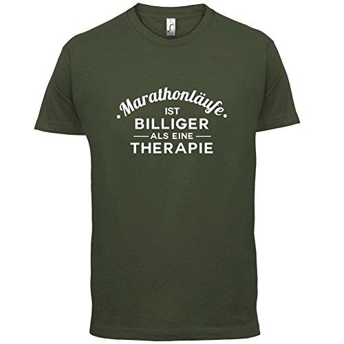Marathonlaufe ist billiger als eine Therapie - Herren T-Shirt - 13 Farben Olivgrün