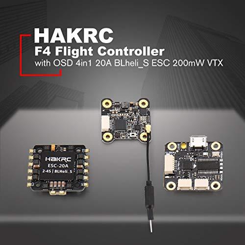 Lorenlli Tour de contrôleur de vol HAKRC F4 avec Betaflight OSD Bec 4in1  20A BLheli_S ESC 200mW VTX pour Drone de Quadcopter RC Racing