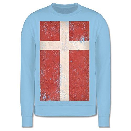 Shirtracer Fußball-Europameisterschaft 2020 Kinder - Dänemark Flagge Vintage - 12-13 Jahre (152) - Hellblau - JH030K - Kinder Pullover