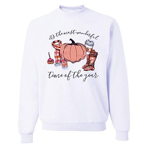 ween Kürbis Round Neck Long Sleeve Sweater Halloween Cartoon Print Round Neck Long Sleeve Sweater, White, L ()