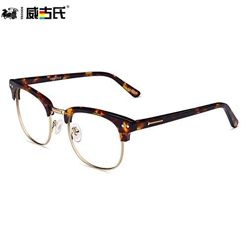 KOMNY Anti Strahlung Anti Blaue Brille Frame weiblichen Retro männliche Hälfte Frame Flachbild Computer Schutzbrille, Schildpatt
