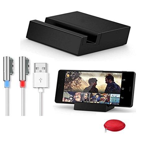 Ukamshop Neue Für Sony Xperia Z3 / Z3 Compact magnetisch induktive Ladestation Tischplattendock + USB Ladekabel Set Silber