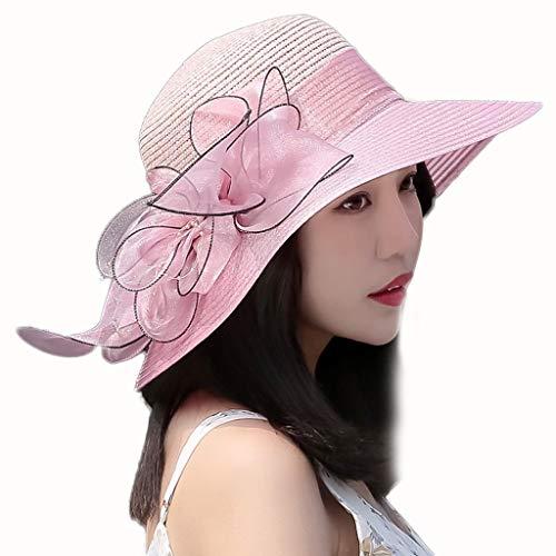 ZHAS Sommersonne Weibliche Wilde Schirmmütze UV-Schutz Stroh, das Ihr Gesicht bedeckt Reise (Farbe: Rosa) - Bedeckt Gesicht