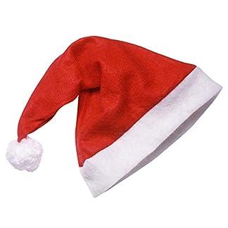 Chytaii Sombrero de Navidad Gorros Rojos de Papá Noel de Navidad Sombrero de Papé Noel de Felpa Corta Celebración de Navidad Estilo Clásico Unisex Adulto Rojo