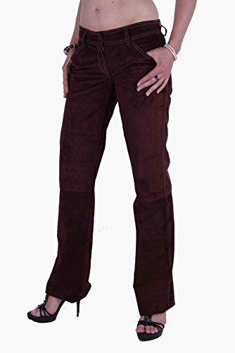 Dolce & Gabbana D & G Pantalon en cuir daim bordeaux # 50 rouge bordeaux