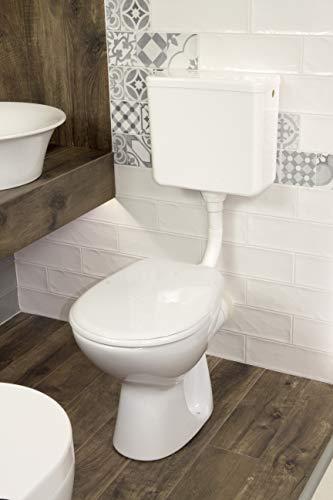 Domino Tiefspül-Stand-WC Komplettset in weiß/WC-Set Toilette mit WC-Sitz und Spülkasten + Montagematerial/Ablauf waagerecht