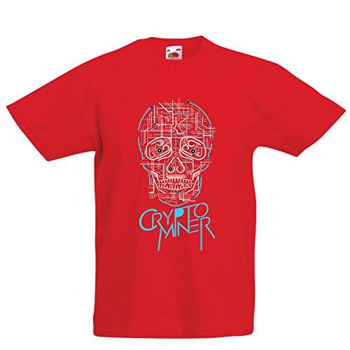 lepni.me Camiseta Niños/Niñas Crypto Miner - Cryptocurrency - Bitcoin Ethereum, Blockchain Mining Algorithms (14-15 Years Rojo Multicolor)