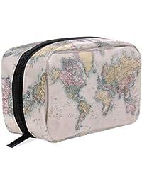 Bolsa de cosméticos con diseño de mapa del mundo vintage, bolsa de viaje para mujeres