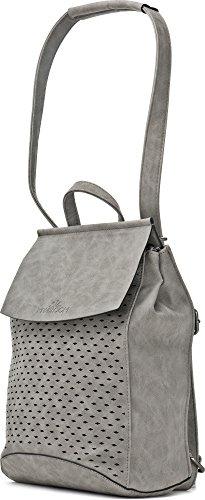 Stylischer Damen Rucksack - Damentasche mit Schulterriemen - Daypack mit Rautenmuster- 21 x 27 x 17,5 cm - Schwarze Schultertasche von MIYA BLOOM Grau