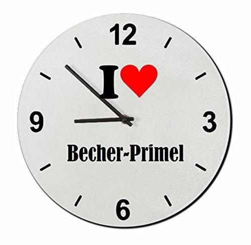 """Exklusive Geschenkidee: Glasuhr """"I Love Becher-Primel"""" eine tolle Geschenkidee die von Herzen kommt- Uhr- Weihnachts Geschenktipp"""