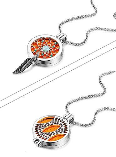 Besteel Collar Medallón Colgante para Mujer Aromaterapia Aceite Esencial Difusor Collar Atrapasueños con 7 Colores de Fieltro, Regalo