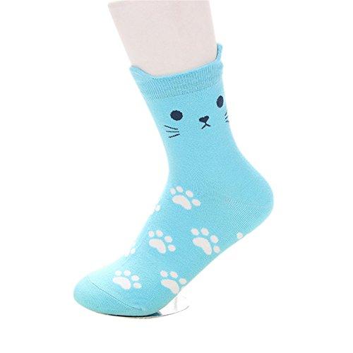 Blue Vessel Dreidimensionale Cartoon Socken Süßigkeit Farbe Socken kleine Katze Ohren (Katze Blaue Ohren)