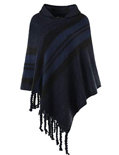 Ferand elegante poncho mantella donna uncinetto a righe con cappuccio - taglia unica - blu navy