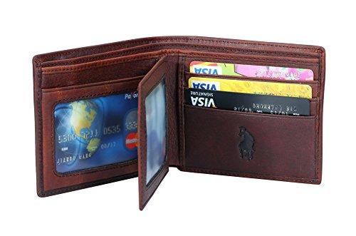 VIDENG POLO RFID Blocking Leder Geldbörsen für Männer - Ausgezeichnete Kreditkarte Schutz - Stop Electronic Pickpocketing (Brown-W3) (Handgefertigte Geldbörsen Taschen)