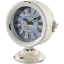 Reloj De Mesa De Forja En Blanco Envejecido