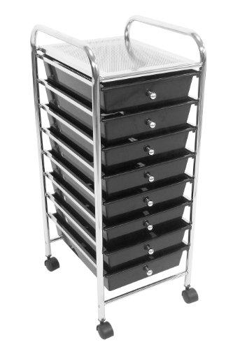 Premier Housewares 1600442 Chariot avec 8 Tiroirs/Cadre en Tube en Plastique/Acier Noir/Chromé