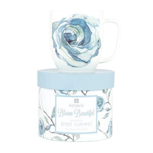 Ashdene Blooming flower - blue - Fine Bone China Cup Mug Porzellantasse Tasse Becher tazza taza 10,5cm 350ml, Gift box, best quality, ASHDENE, Australia (Bone China Fine Blue)