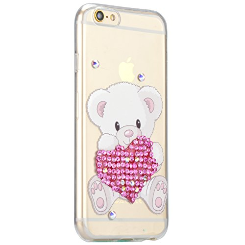 Coque iPhone 7, Coque iPhone 7 Transparent Silicone TPU Gel Soft Etui Sunroyal® Housse de Protection Motif Slim Bling Strass Case Cover Anti-Scratch Antichoc + Film Protection - Cartoon Lapin Bling TPU-01