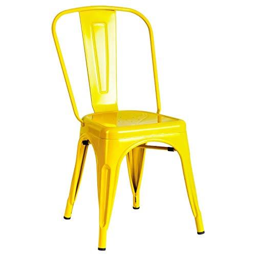 Sillas de comedor amarillas metálicas