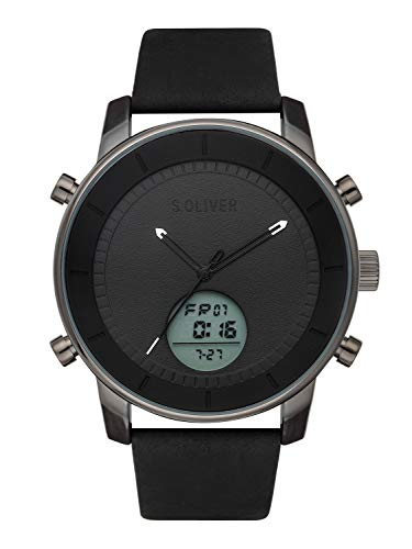 s.Oliver Time Herren Analog-Digital Quarz Uhr mit Leder Armband SO-3620-LD